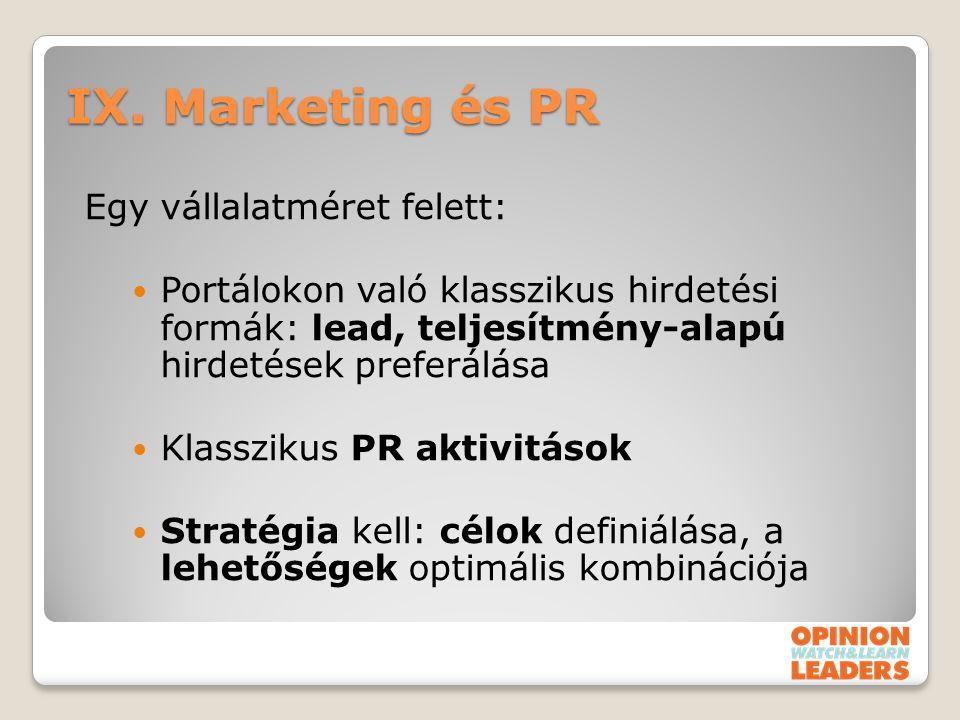IX. Marketing és PR Egy vállalatméret felett: