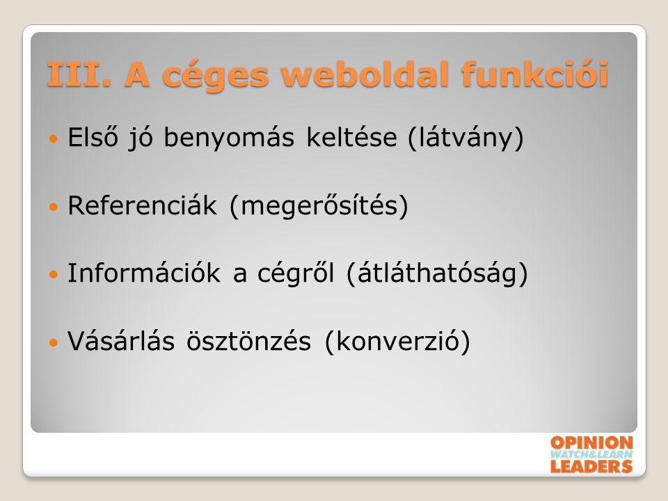 III. A céges weboldal funkciói