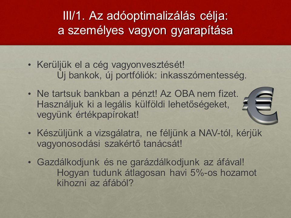 III/1. Az adóoptimalizálás célja: a személyes vagyon gyarapítása