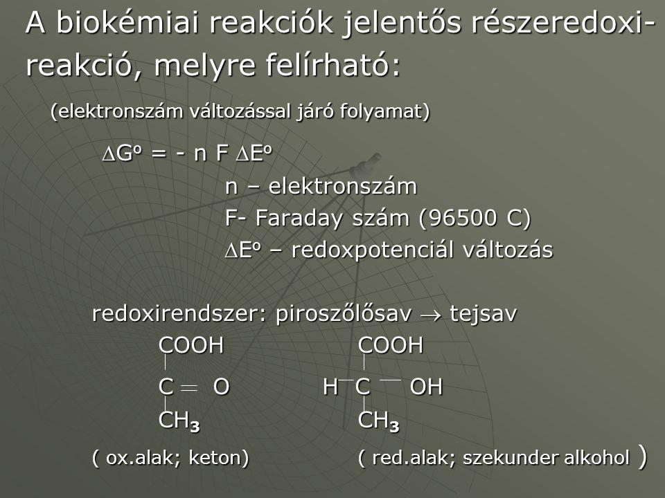 A biokémiai reakciók jelentős részeredoxi- reakció, melyre felírható: