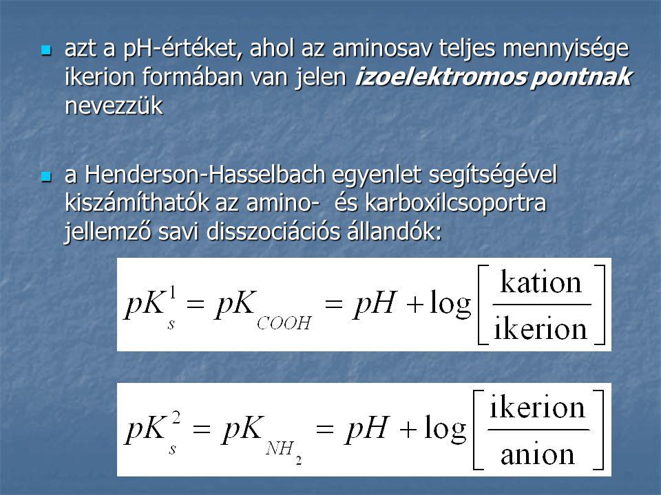 azt a pH-értéket, ahol az aminosav teljes mennyisége ikerion formában van jelen izoelektromos pontnak nevezzük