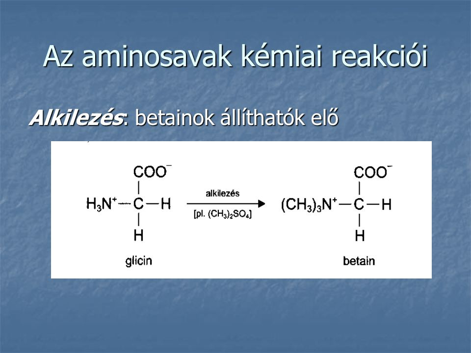Az aminosavak kémiai reakciói