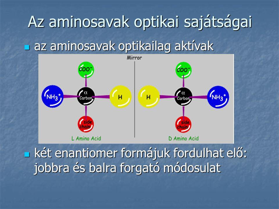 Az aminosavak optikai sajátságai