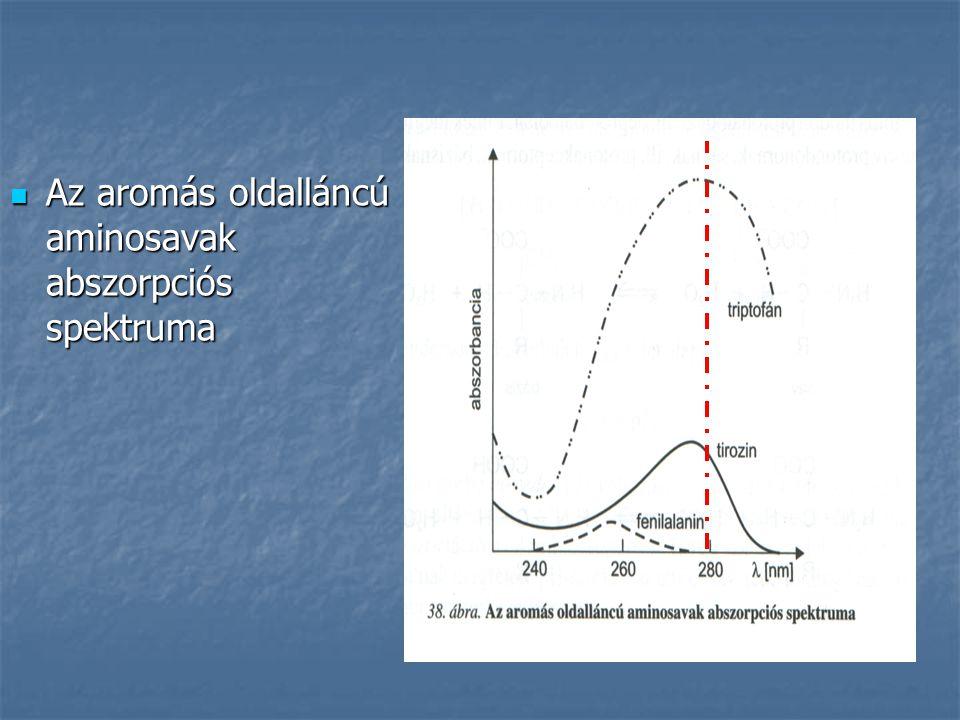Az aromás oldalláncú aminosavak abszorpciós spektruma