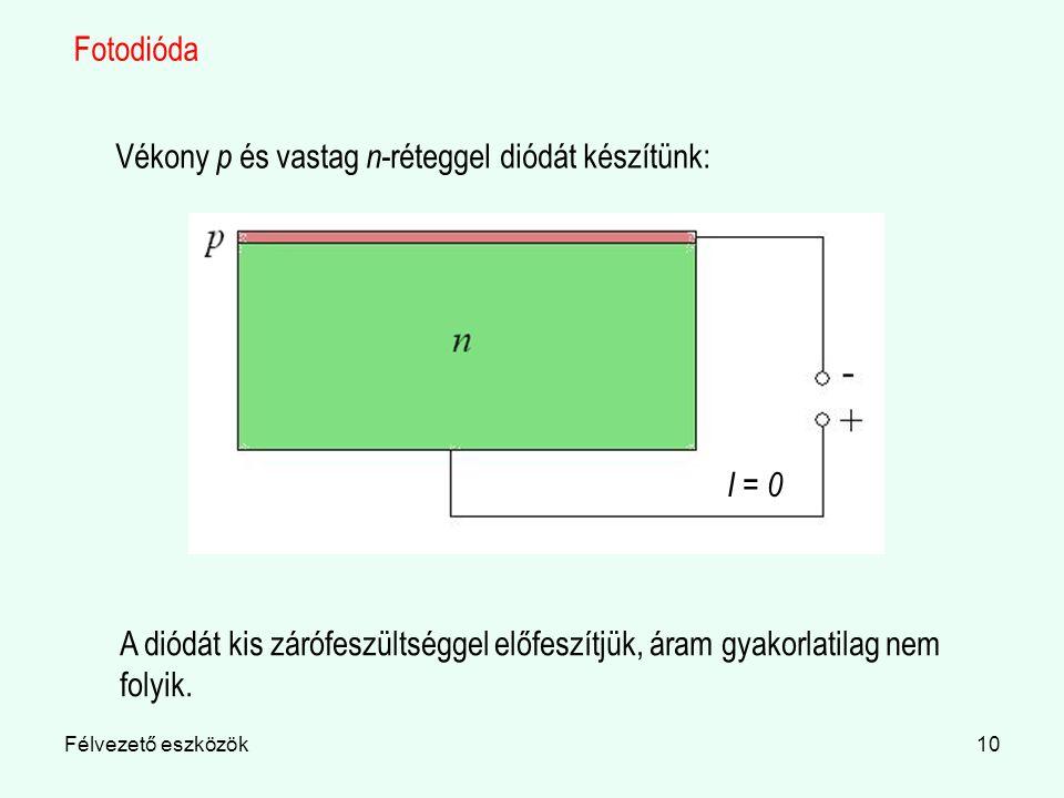 Vékony p és vastag n-réteggel diódát készítünk:
