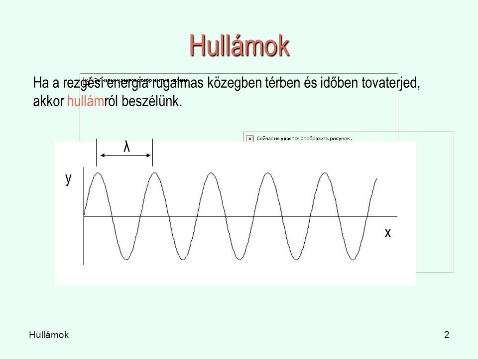 Hullámok Ha a rezgési energia rugalmas közegben térben és időben tovaterjed, akkor hullámról beszélünk.