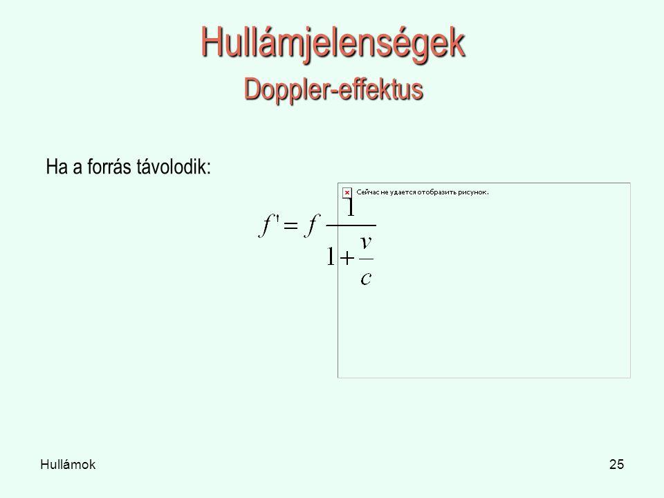 Hullámjelenségek Doppler-effektus Ha a forrás távolodik: Hullámok