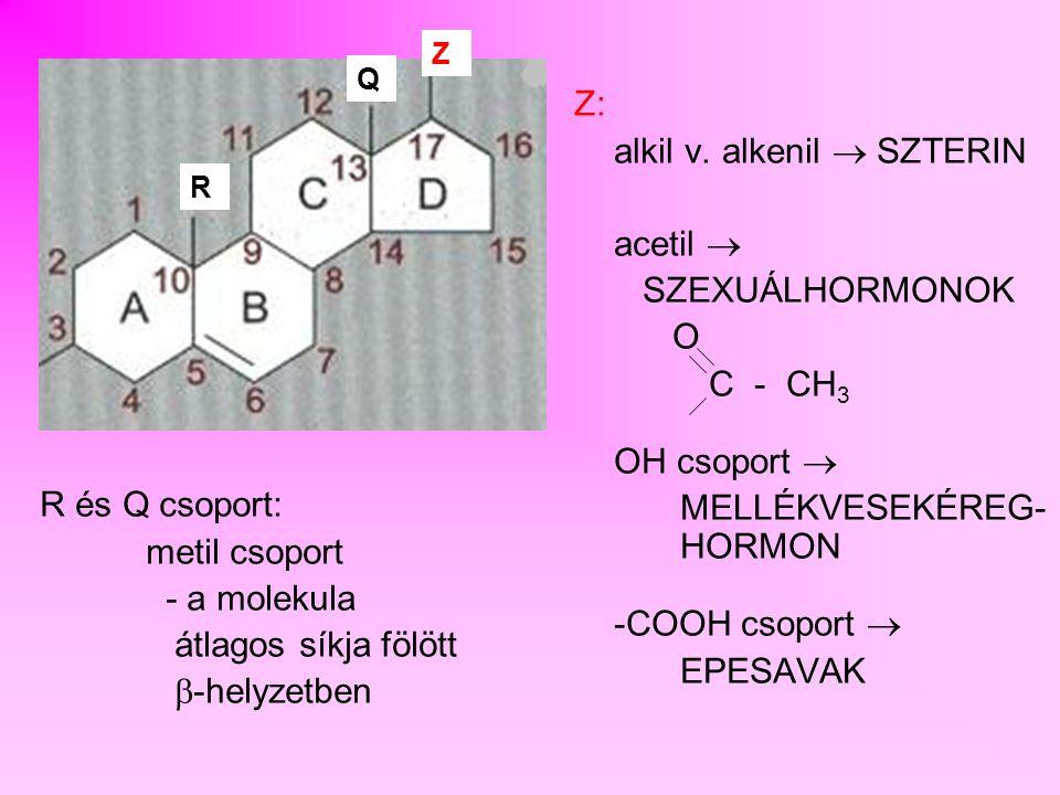 alkil v. alkenil  SZTERIN acetil  SZEXUÁLHORMONOK O C - CH3