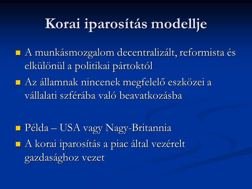 Korai iparosítás modellje