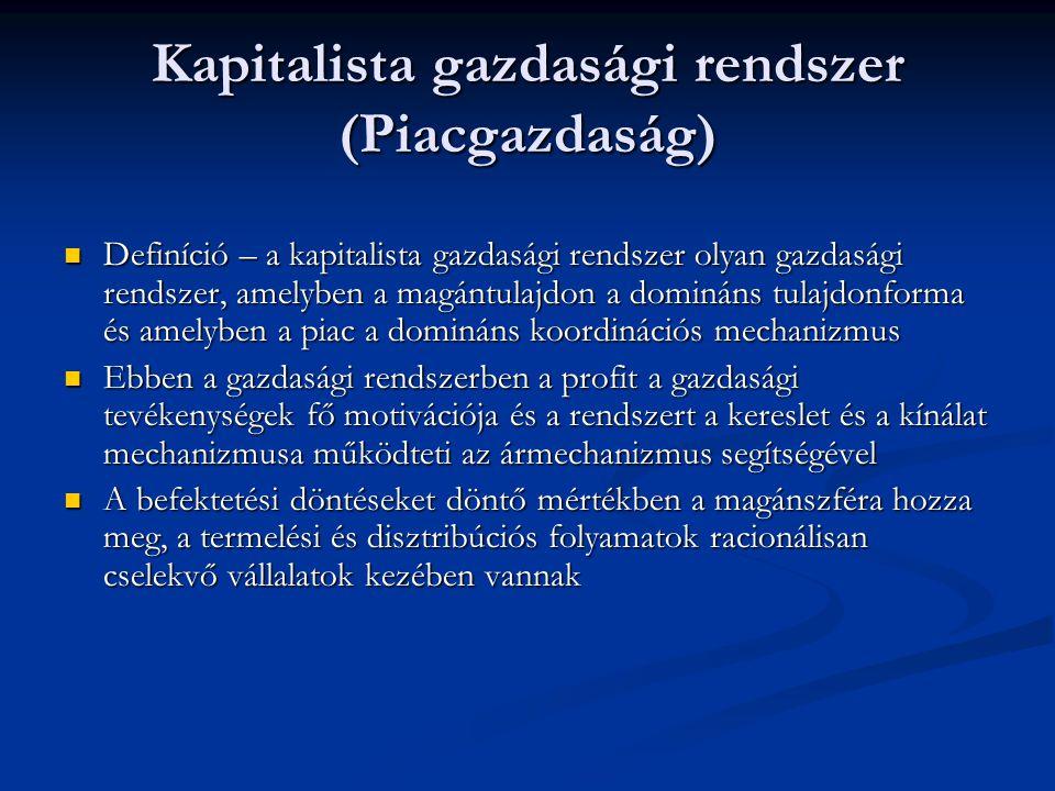Kapitalista gazdasági rendszer (Piacgazdaság)