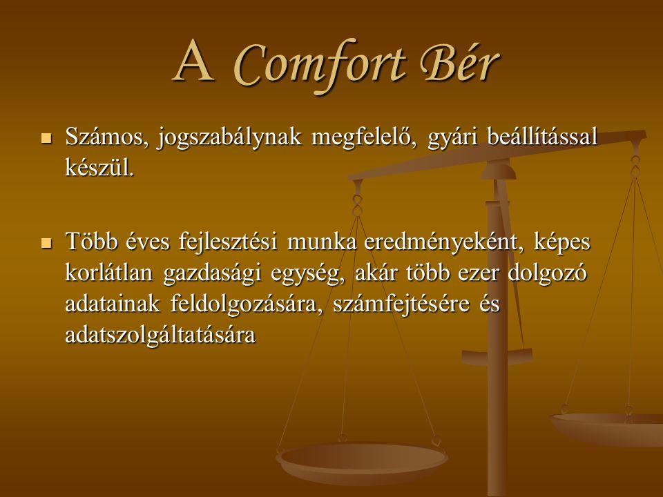 A Comfort Bér Számos, jogszabálynak megfelelő, gyári beállítással készül.