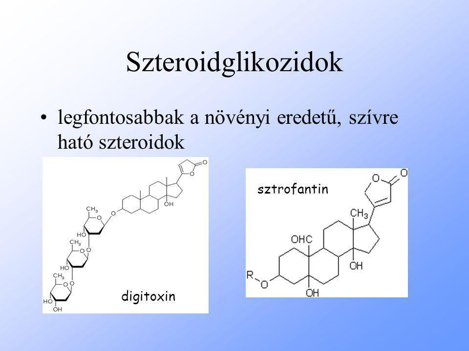Szteroidglikozidok legfontosabbak a növényi eredetű, szívre ható szteroidok sztrofantin digitoxin