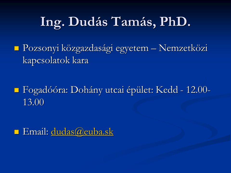 Ing. Dudás Tamás, PhD. Pozsonyi közgazdasági egyetem – Nemzetközi kapcsolatok kara. Fogadóóra: Dohány utcai épület: Kedd - 12.00-13.00.