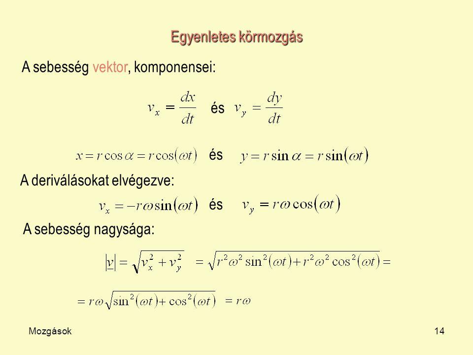 A sebesség vektor, komponensei: