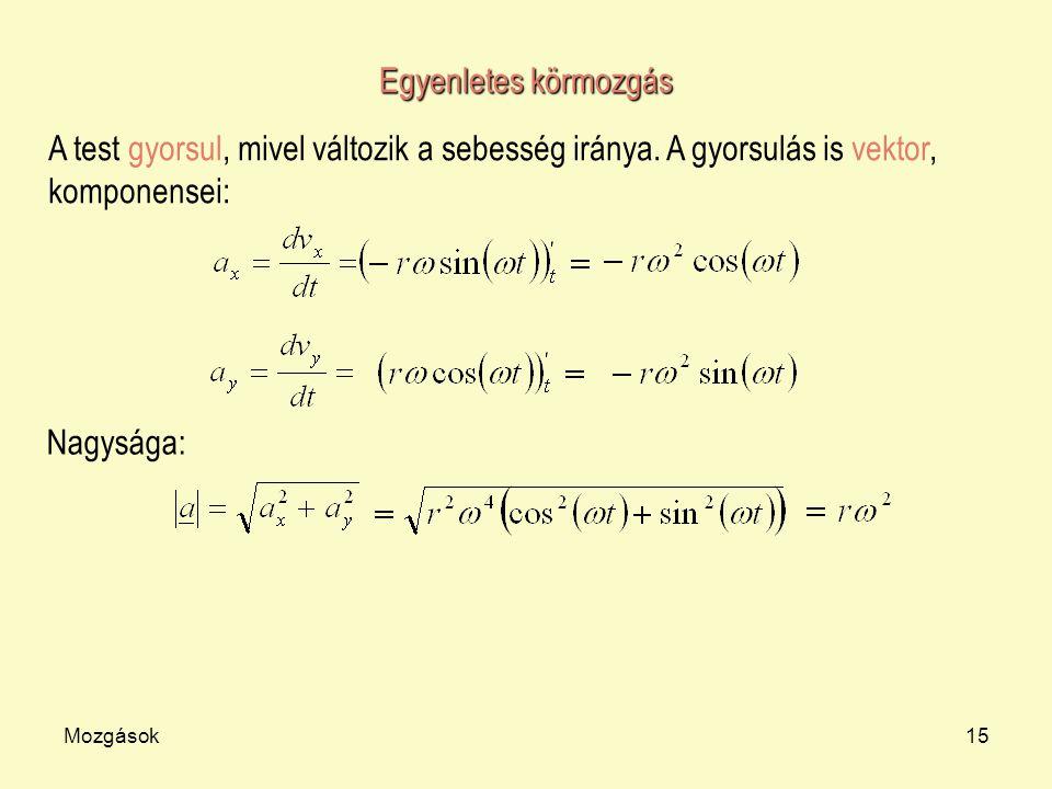 Egyenletes körmozgás A test gyorsul, mivel változik a sebesség iránya. A gyorsulás is vektor, komponensei: