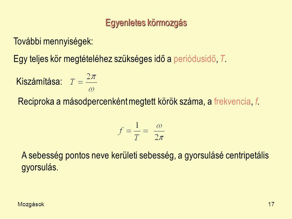 Egy teljes kör megtételéhez szükséges idő a periódusidő, T.