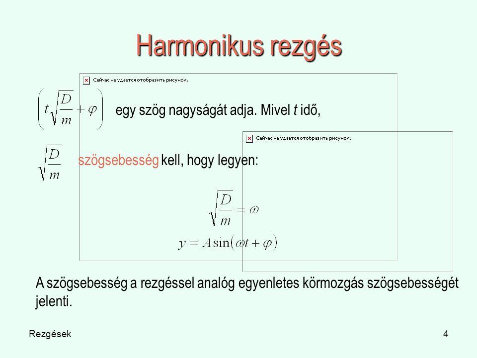 Harmonikus rezgés egy szög nagyságát adja. Mivel t idő,