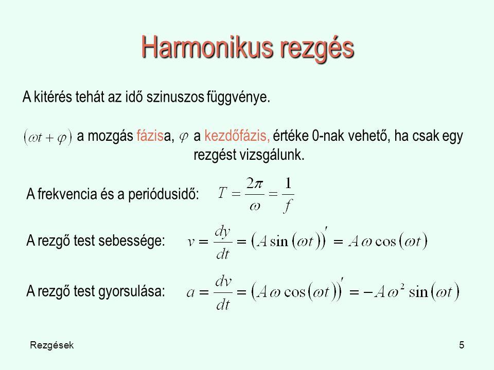 Harmonikus rezgés A kitérés tehát az idő szinuszos függvénye.