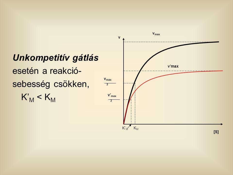 Unkompetitív gátlás esetén a reakció- sebesség csökken, K'M < KM