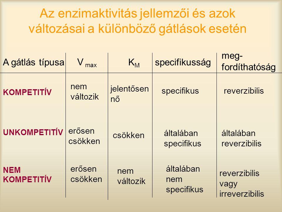 Az enzimaktivitás jellemzői és azok változásai a különböző gátlások esetén