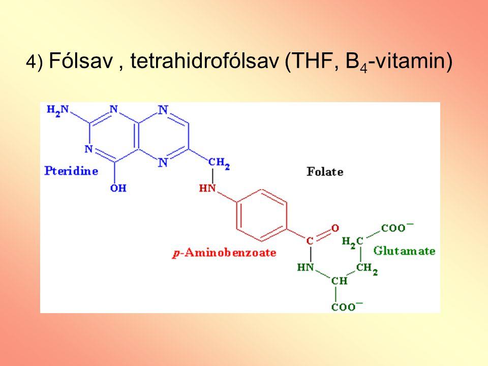 4) Fólsav , tetrahidrofólsav (THF, B4-vitamin)