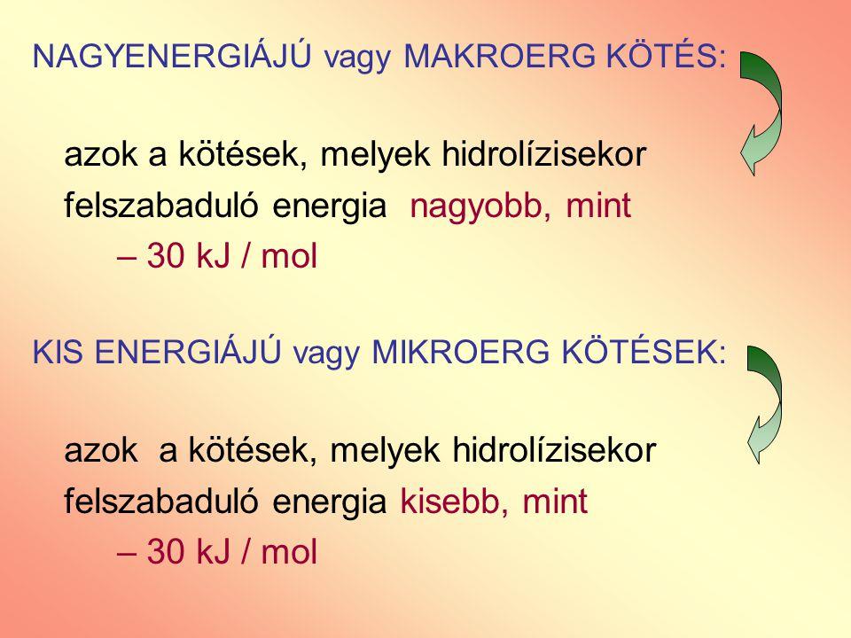 felszabaduló energia nagyobb, mint – 30 kJ / mol