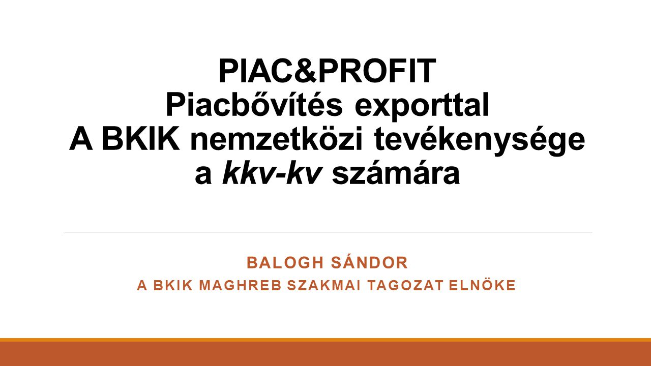 Balogh Sándor A BKIK Maghreb Szakmai tagozat elnöke