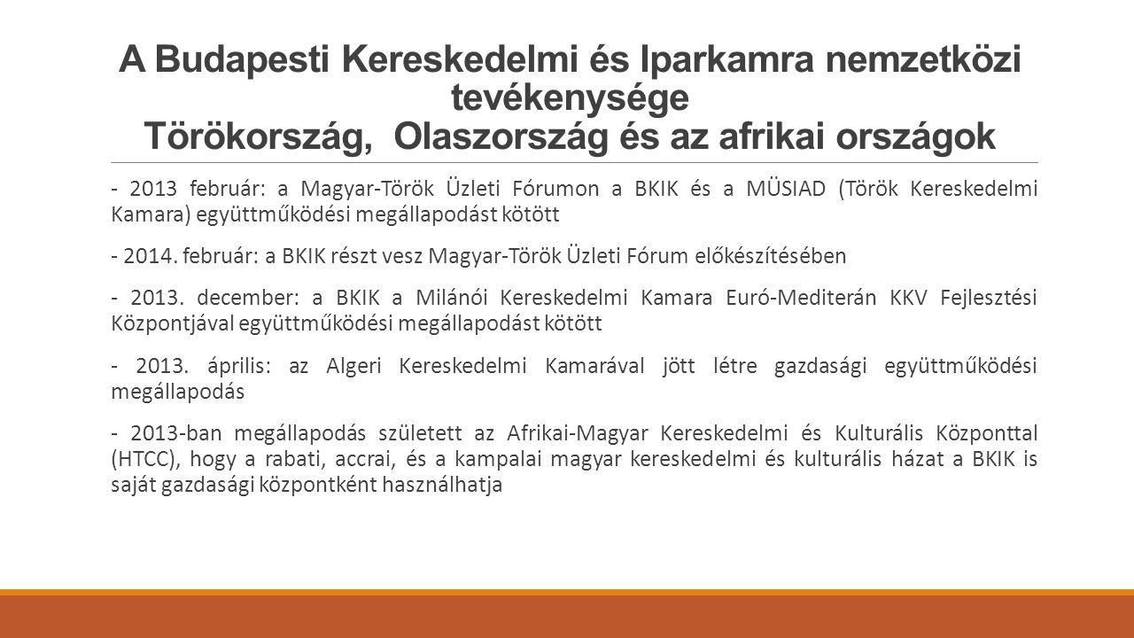 A Budapesti Kereskedelmi és Iparkamra nemzetközi tevékenysége Törökország, Olaszország és az afrikai országok