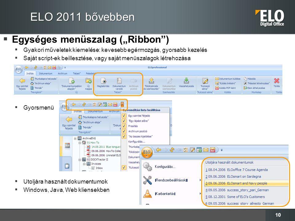 """ELO 2011 bővebben Egységes menüszalag (""""Ribbon )"""