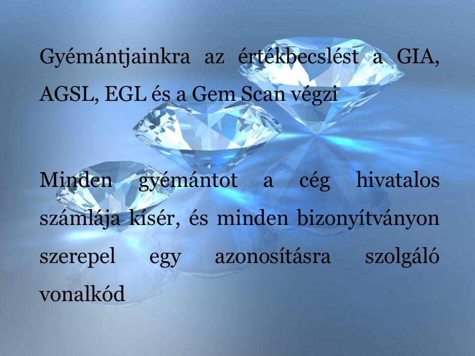 Gyémántjainkra az értékbecslést a GIA, AGSL, EGL és a Gem Scan végzi
