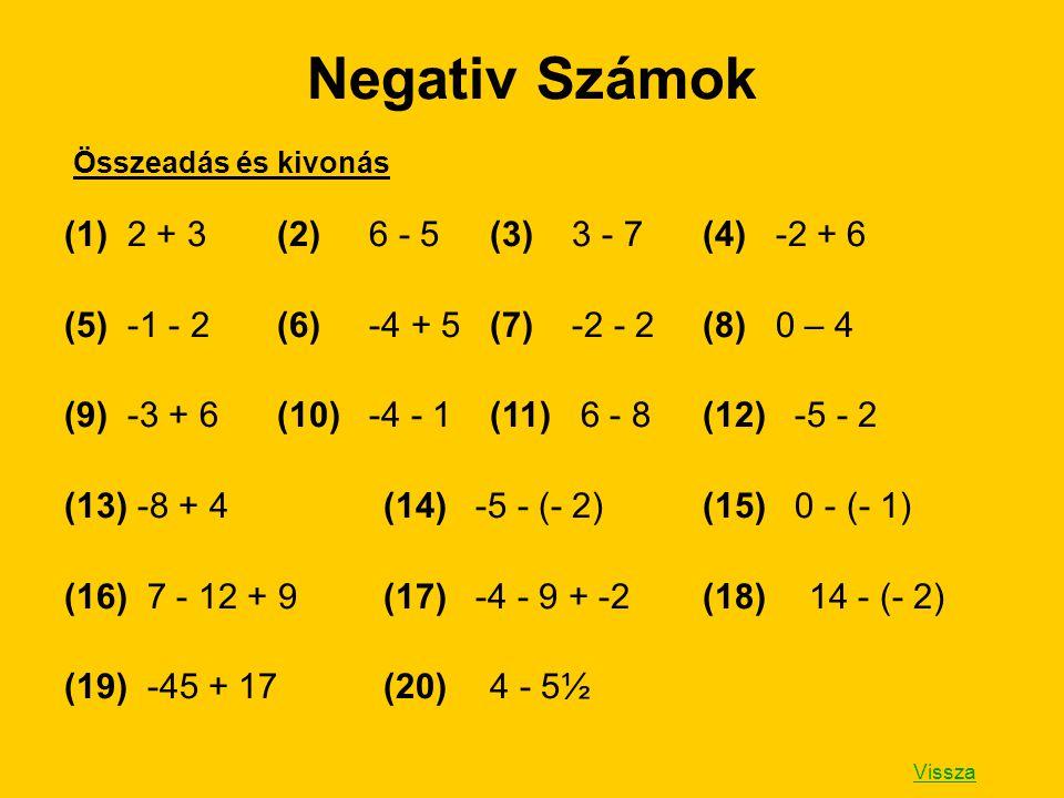 Negativ Számok (1) 2 + 3 (2) 6 - 5 (3) 3 - 7 (4) -2 + 6
