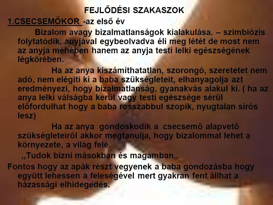 FEJLŐDÉSI SZAKASZOK 1.CSECSEMŐKOR -az első év.