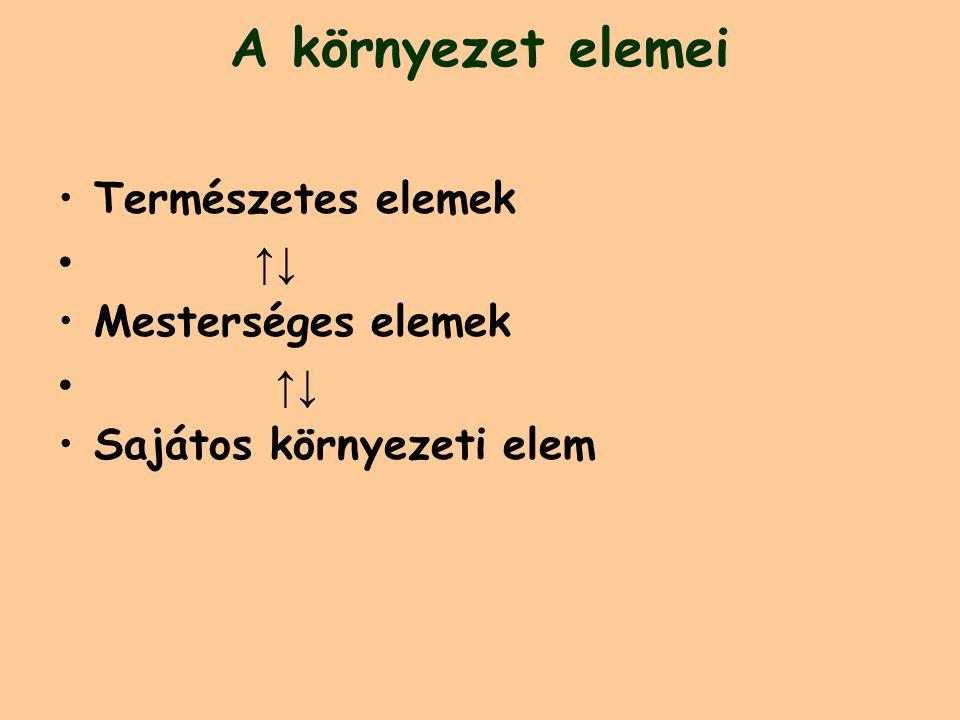 A környezet elemei Természetes elemek ↑↓ Mesterséges elemek