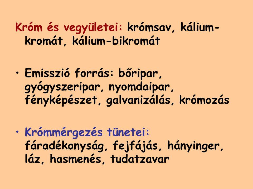 Króm és vegyületei: krómsav, kálium-kromát, kálium-bikromát
