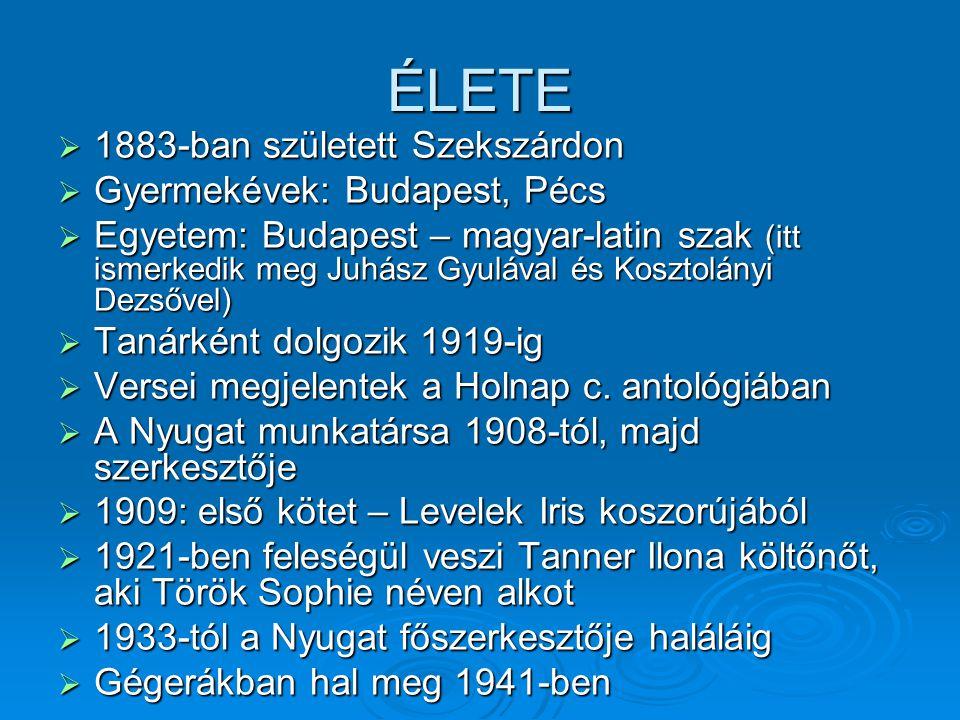 ÉLETE 1883-ban született Szekszárdon Gyermekévek: Budapest, Pécs
