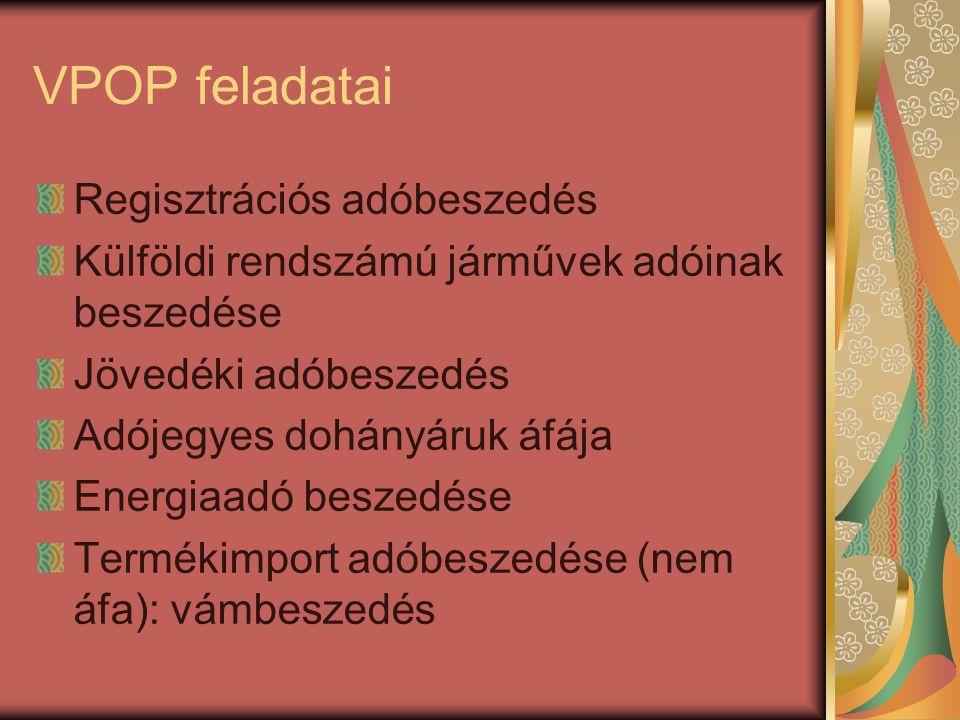 VPOP feladatai Regisztrációs adóbeszedés
