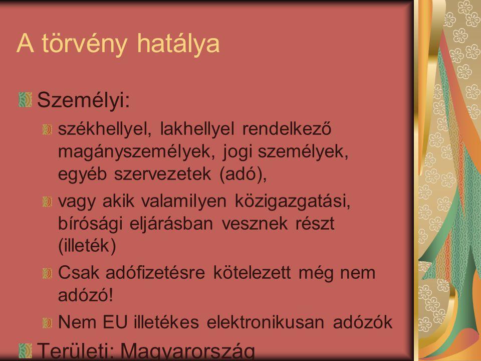 A törvény hatálya Személyi: Területi: Magyarország