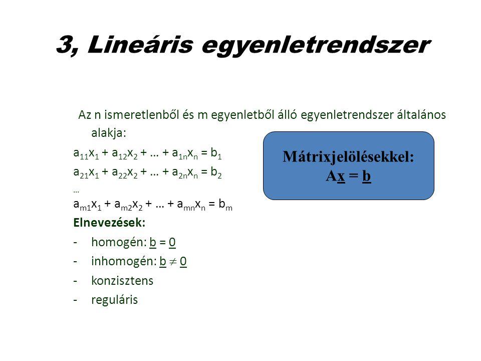 3, Lineáris egyenletrendszer