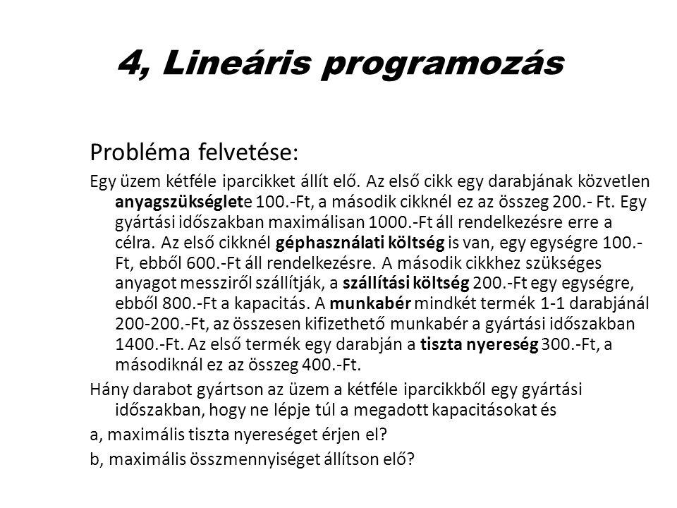 4, Lineáris programozás Probléma felvetése: