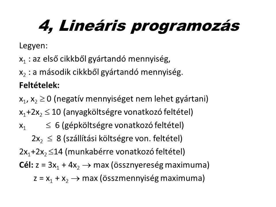 4, Lineáris programozás Legyen:
