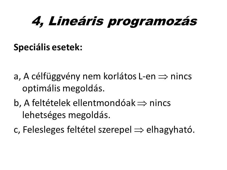 4, Lineáris programozás Speciális esetek: