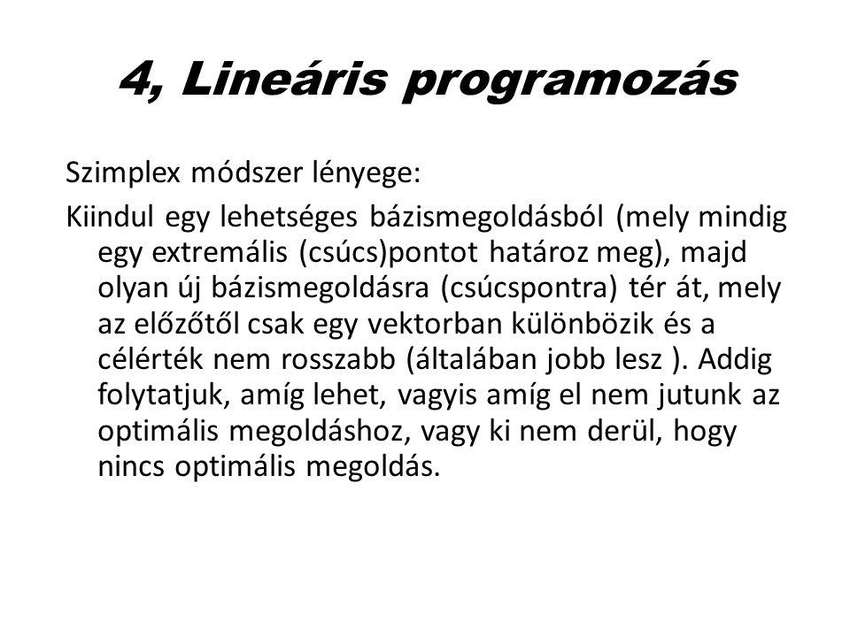 4, Lineáris programozás Szimplex módszer lényege: