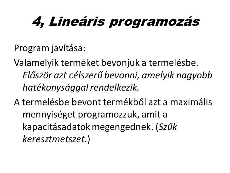 4, Lineáris programozás Program javítása: