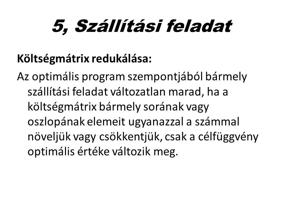 5, Szállítási feladat Költségmátrix redukálása: