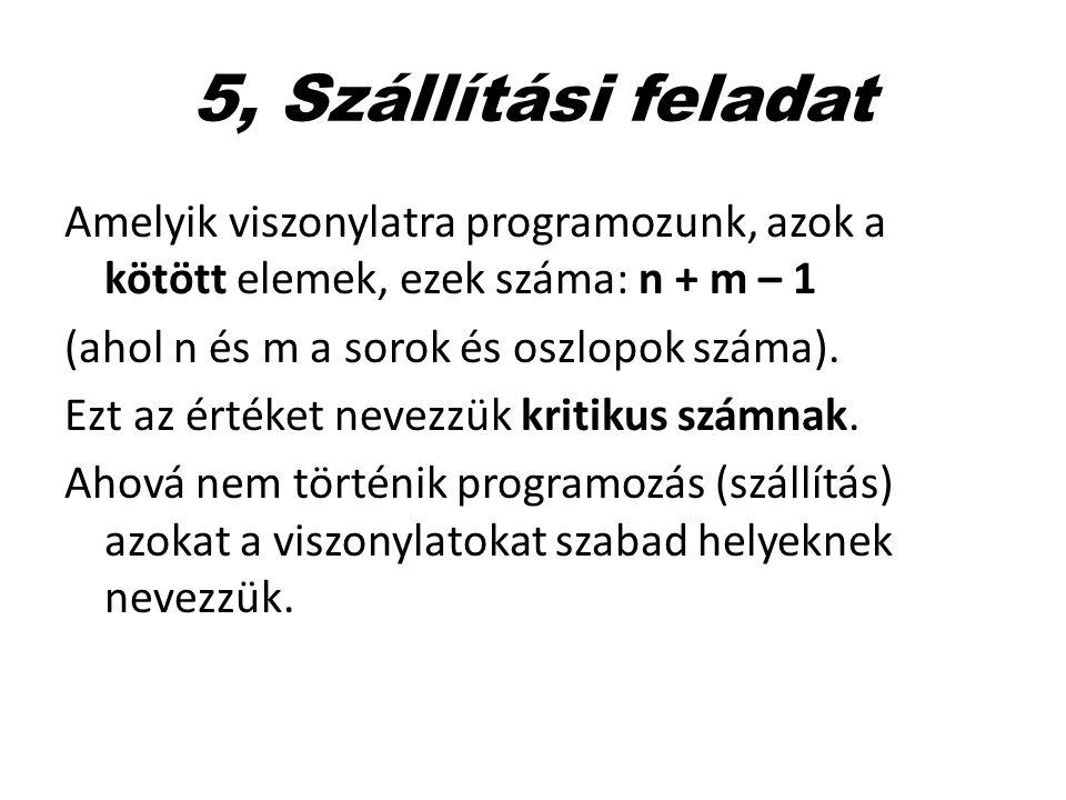 5, Szállítási feladat Amelyik viszonylatra programozunk, azok a kötött elemek, ezek száma: n + m – 1.