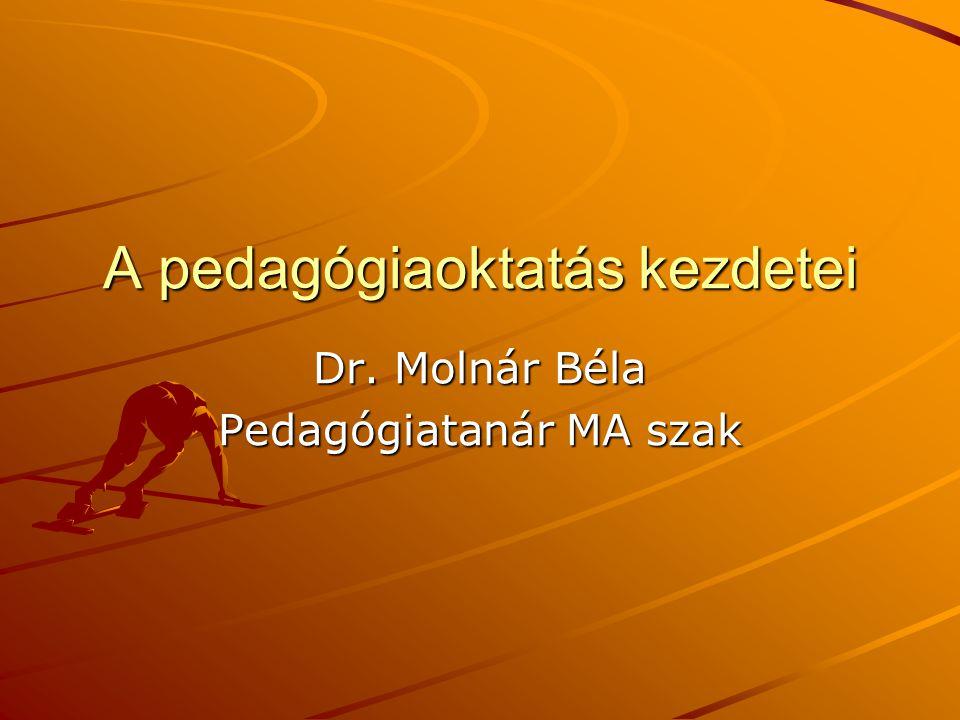 A pedagógiaoktatás kezdetei