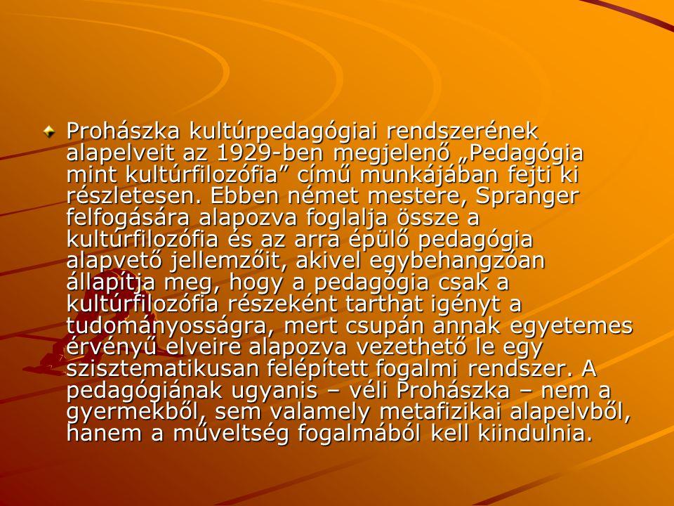 """Prohászka kultúrpedagógiai rendszerének alapelveit az 1929-ben megjelenő """"Pedagógia mint kultúrfilozófia című munkájában fejti ki részletesen."""