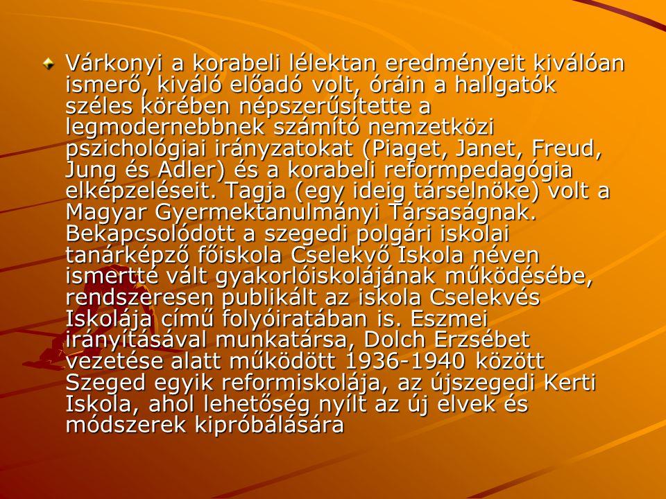 Várkonyi a korabeli lélektan eredményeit kiválóan ismerő, kiváló előadó volt, óráin a hallgatók széles körében népszerűsítette a legmodernebbnek számító nemzetközi pszichológiai irányzatokat (Piaget, Janet, Freud, Jung és Adler) és a korabeli reformpedagógia elképzeléseit.