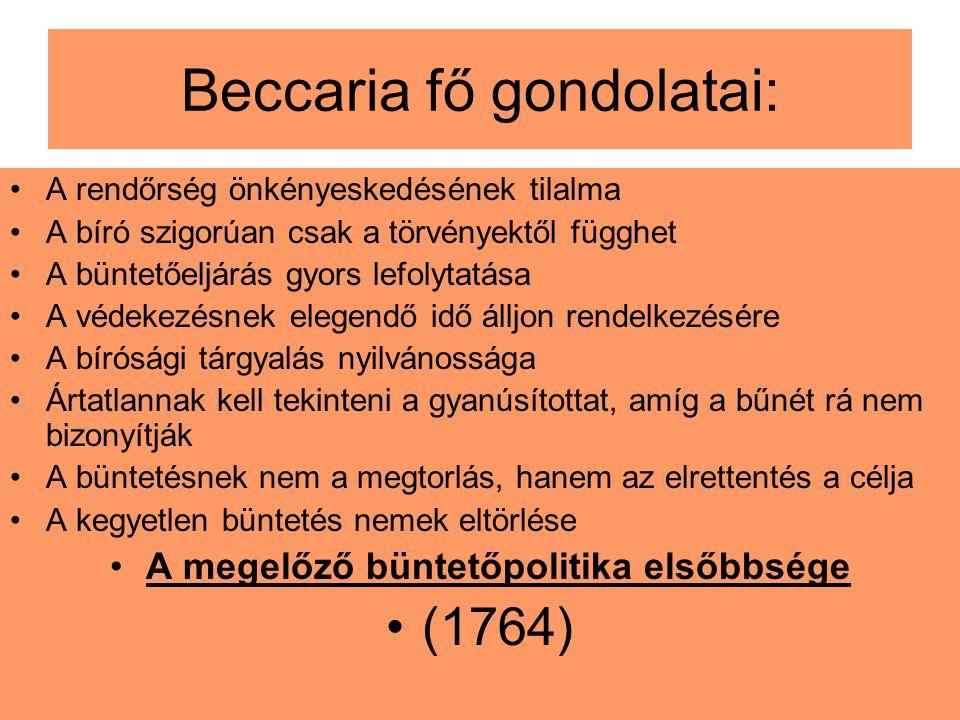 Beccaria fő gondolatai: