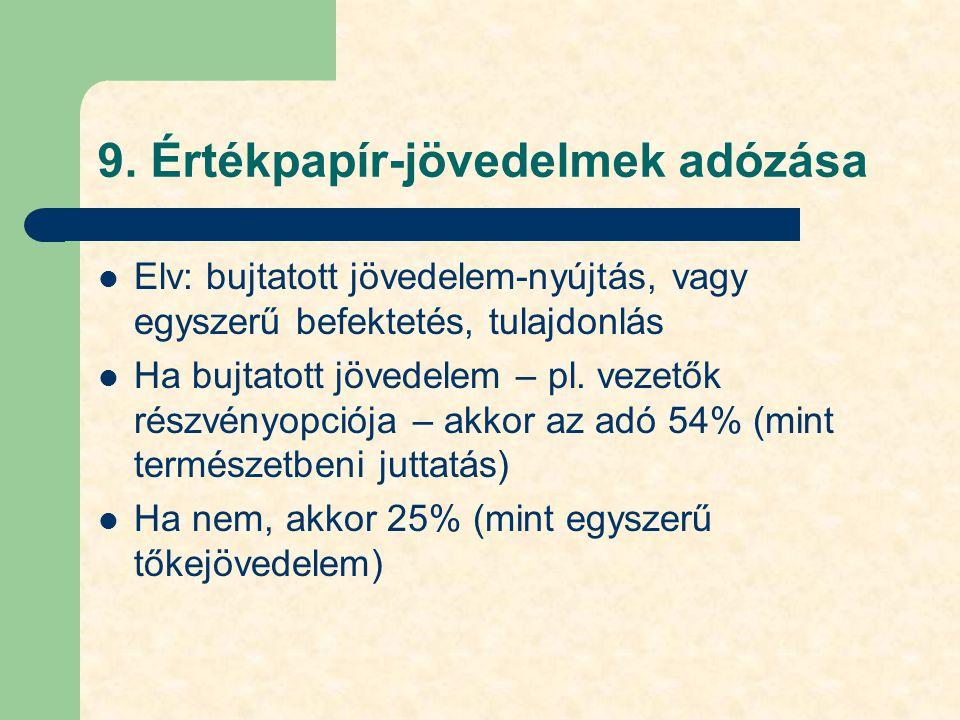 9. Értékpapír-jövedelmek adózása